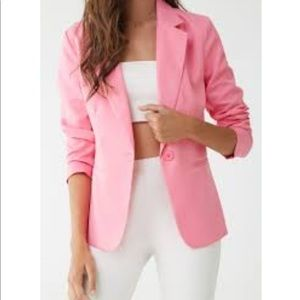 NWT Single Breasted Woven Blazer in Neon Pink